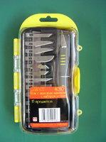 Нож с цанговым зажимом (алюминий), с набором лезвий, 15 предметов