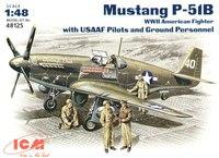 P-51B «Мустанг» истребитель с пилотами и техниками USAF. 48125 ICM 1:48
