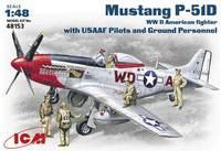 P-51D «Мустанг» истребитель с пилотами и техниками USAF. 48153 ICM 1:48
