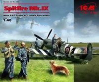 Spitfire Mk.IX истребитель с пилотами и наземным персоналом RAF. 48801 ICM 1:48