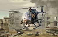 AH-6J/MH-6J Little Bird легкий ударный/разведывательный вертолет 160 SOAR Night Stalkers. 50003 Kitty Hawk 1:35