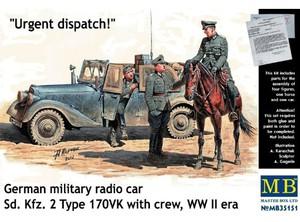 Срочное донесение (Urgent dispatch) машина связи Sd Kfz 2 Type 170VK и 4 фигурки - MB35151 Master Box 1:35