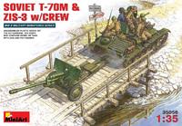 Т-70М легкий танк с пушкой ЗИС-3 на буксире и экипажем. 35056 MiniArt 1:35