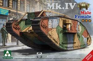 Мк. IV танк-ромб (Mark IV Male-Female) 2 варианта в одной коробке. 2076 Takom 1:35