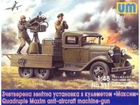 ГАЗ-ААА с зенитной установкой Максим счетверенный. Масштаб 1/48