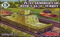 ПЛ-43 Артиллерийская бронеплощадка с башней Т-34-76. 622 UMMT 1:72