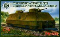 Двухосная бронеплощадка ОБ-3 с двумя коническими башнями Т-26. Масштаб 1/72