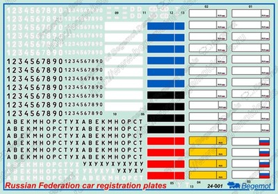 Регистрационные номера машин Российской Федерации - Масштаб 1/24