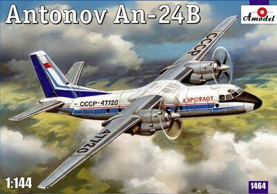 Ан-24Б пассажирский лайнер Аэрофлот - 1464 Amodel 1:144