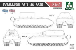 Panzer VIII Maus V1/V2 сверхтяжелый танк (2 в 1) - 2050X Takom 1:35
