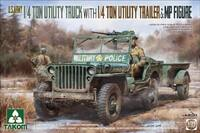 Джип с прицепом и фигуркой военного полицейского (1/4 Ton Utility Truck with Trailer & MP Figure) - 2126 Takom 1:35