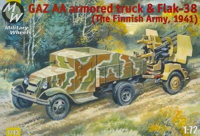 Броневик ГАЗ АА с зенитным орудием Flak-38 (Финская армия 1941г.). Масштаб 1/72