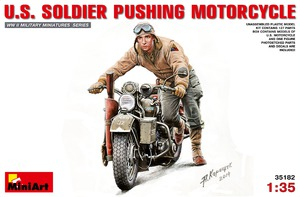 Американский солдат толкающий мотоцикл - 35182 MiniArt 1:35