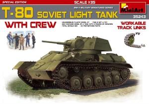 Т-80 легкий танк с экипажем и подвижными траками - 35243 MiniArt 1:35