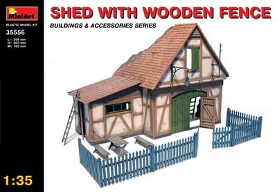 Сарай с деревянным забором - 35556 MiniArt 1:35