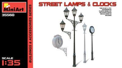 Уличные фонарные столбы с уличными часами - 35560 MiniArt 1:35