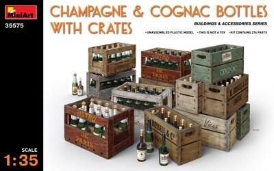 Бутылки шампанского и коньяка в ящиках - 35575 MiniArt 1:35