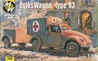 Автомобиль VW type 93 Санитарная версия с прицепом. Масштаб 1/72