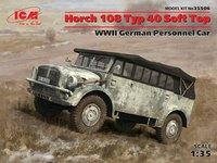 Horch 108 Typ 40 (с поднятым тентом) армейский автомобиль - 35506 ICM 1:35