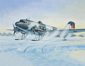 Ли-2Т Военно-транспортный самолет на лыжах - 14432 Восточный Экспресс 1:144